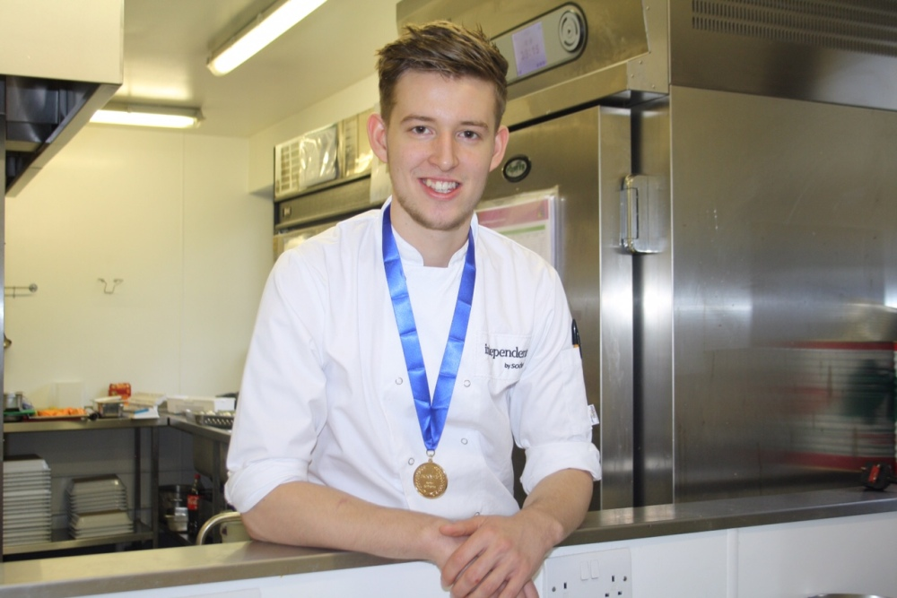 22.10.15. Sodexo Young Chef of the Year Liam Pope celebrates with his Gold medal.